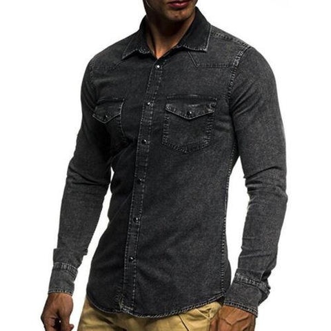 Long Sleeve Slim Fit Turn Down Collar Denim Casual Shirt - Toplen