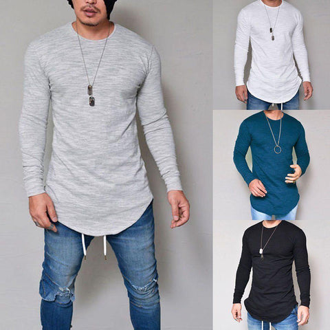 Mens Casual Long Sleeve Shirts Formal Slim Fit Shirt Tops T-Shirt - Toplen