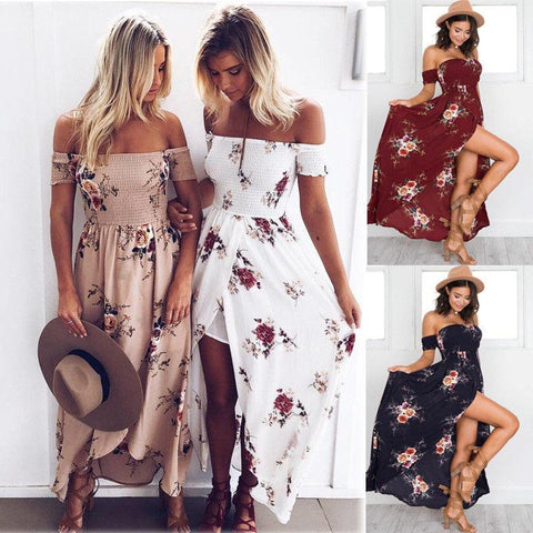 Boho Womens Holiday Off Shoulder Floral Maxi Summer Beach Party Dress - Toplen