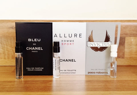 3x Mens Perfume Samples Chanel Blue, Allure Home Sport & Invictus - Toplen