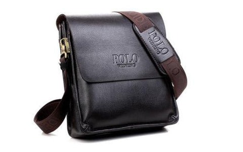 Men Genuine Leather Polo Business Handbag shoulder bag dark brown - Toplen