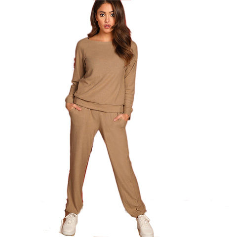 Round Neck Solid Pullover Plain Pants Set