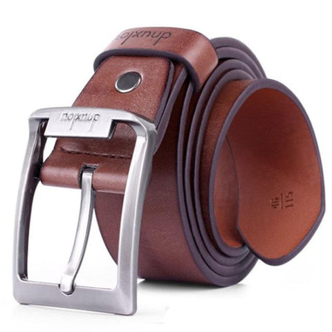 Mens Fashion Leather Single Prong Belt Metal Buckle - Toplen