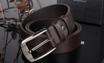 Men Metal Buckle Leather Waistband Classic Pin Buckle Belts - Toplen