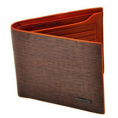Men Brown Wallet Billfold Coffee Leather Wallet - Toplen
