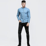 Men's Long Sleeve Stand Collar Casual Jeans Shirt - Toplen
