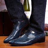 Men's Fashion Business Wedding Snake Skin Pattern Leather Shoes - Toplen