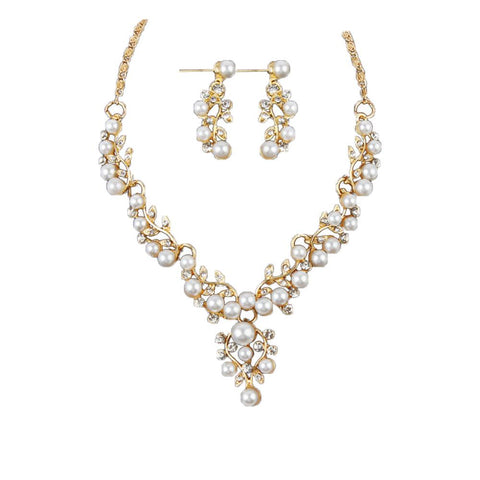 Pearl Rhinestone Necklace Earrings - Toplen