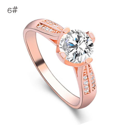 Flower Crystal Ring For Women Silver Rose Gold - Toplen