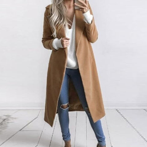 Women Long Jacket Turn Down Collar Overcoat