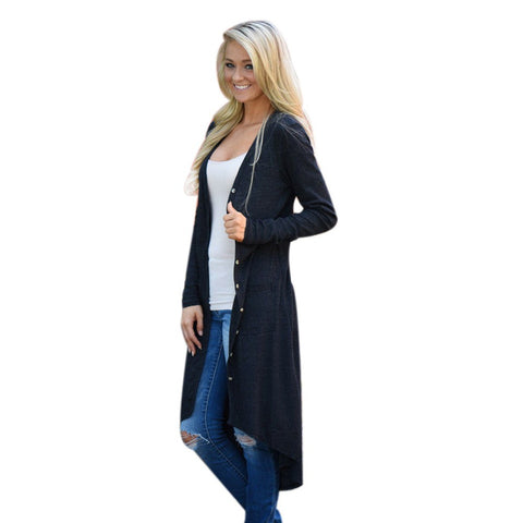 Women Loose Long Sleeve Cardigan - Toplen