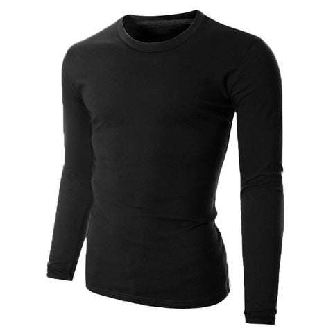 Long Sleeve Men Solid Color Plain Crew Neck T Shirts - Toplen