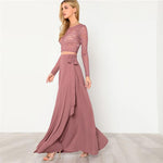 Women Pink Crop Lace Top & Knot Skirt Set - Toplen