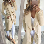 Women Coat Solid Open Front Waterfall Overcoat