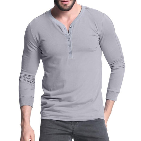 Mens Fashion Slim Fit Plain T-shirt Long Sleeve V Neck - Toplen