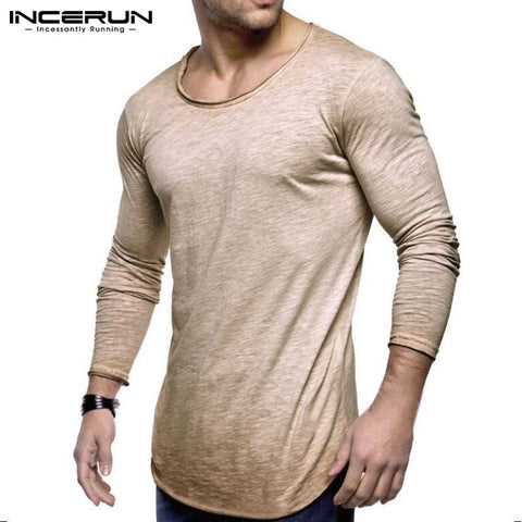 Men Fashion T Shirt Slim Fit O Neck Long Sleeve - Toplen