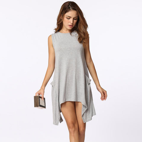 Women Sleeveless Pockets Tunic Tank Top - Toplen