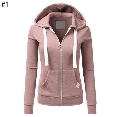 Woman Solid Color Sport Casual Hoodie - Toplen