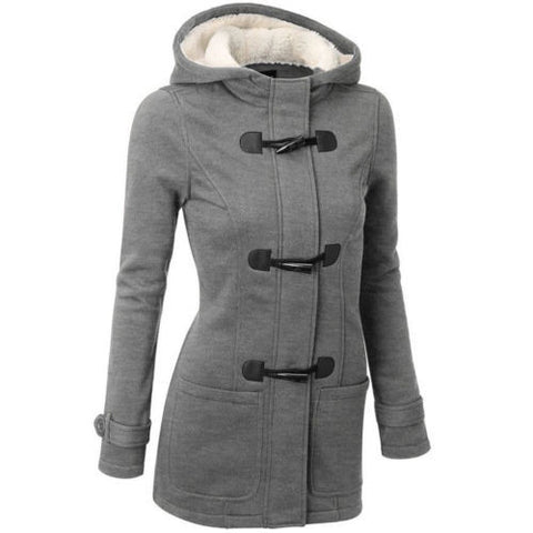 Womens Warm Trench Coat Jacket Hooded Overcoat - Toplen