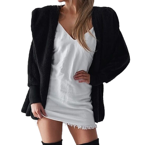 Womens Hooded Fluffy Winter Cardigan Overcoat - Toplen