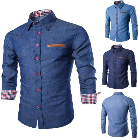 Men Casual Long Sleeve Slim Fit Shirts - Toplen