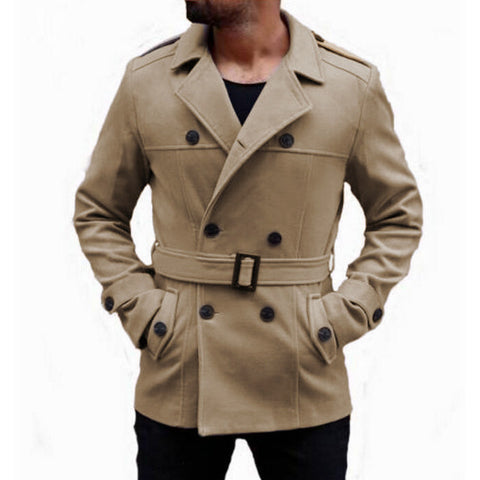 Men's Turn-Down Collar Long Trench Coat
