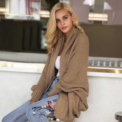 Batwing knitted shrug sweater Autumn winter fashion - Toplen