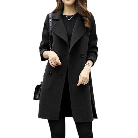 Women Long Sleeve Turn down Collar Casual Overcoat