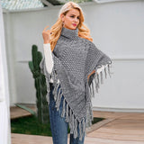 Simple Knitted turtleneck cloak sweater