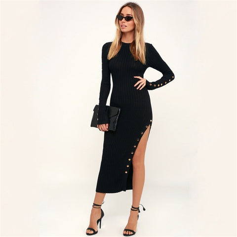 Long Sleeve Bodycon Slim O-Neck Female Dress