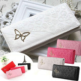 Womens Ladies Purse Wallet Clutch butterfly PU Leather Long Zip Bag Card Holder - Toplen
