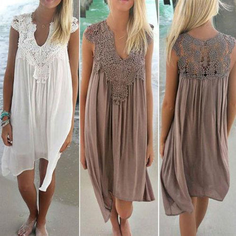 Boho Womens Lace Embroidery Summer Loose Casual Beach Mini Swing Dress - Toplen