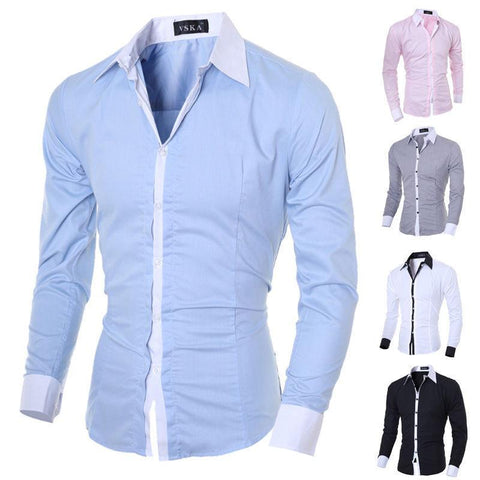 Mens Long Sleeve Shirt Button Up Business Work Smart Formal Plain - Toplen