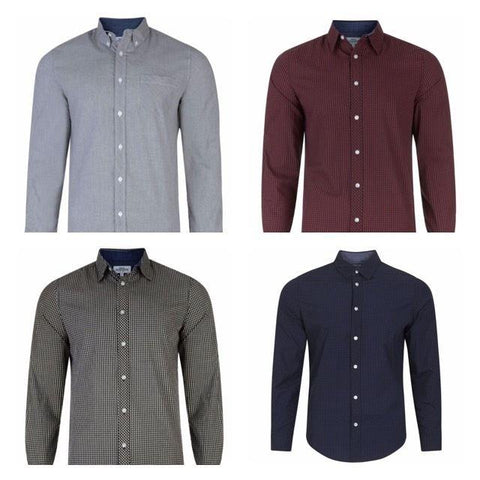 Mens Next Check Slim Cotton Long Sleeve Casual Smart Shirt - Toplen
