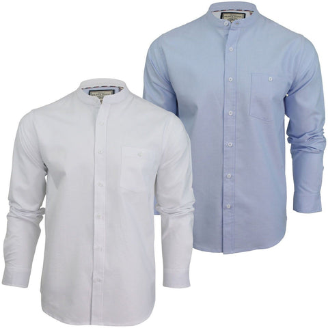 Mens Collarless Shirt by Brave Soul Long Sleeved - Toplen