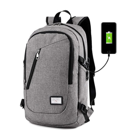 Men Polyester Solid Big School Bag Backpack for Teenager USB Charge Interface - Toplen