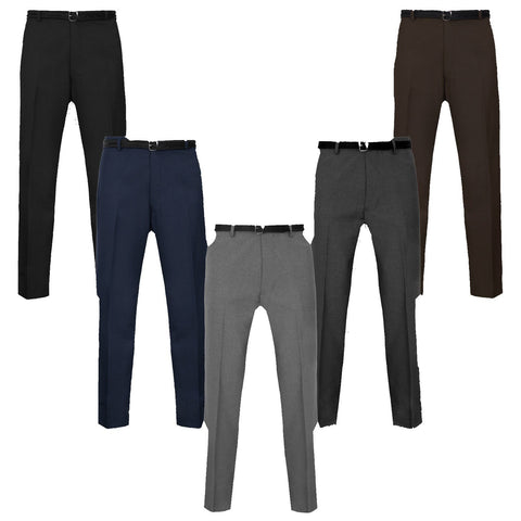 Mens Formal Trousers Casual Office Smart Business Work - Toplen