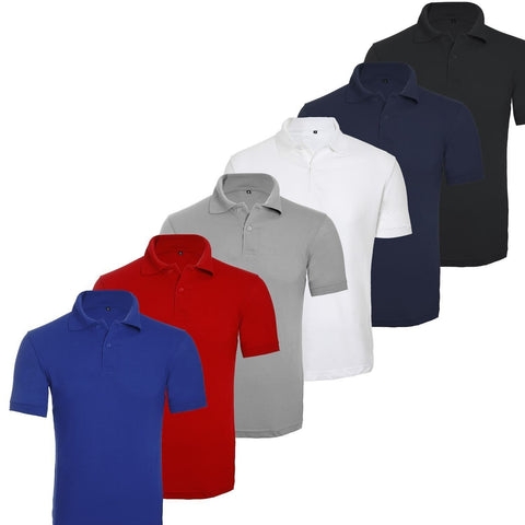 Men Boys Short Sleeve Polo T Shirt Plain UK S 2XL - Toplen