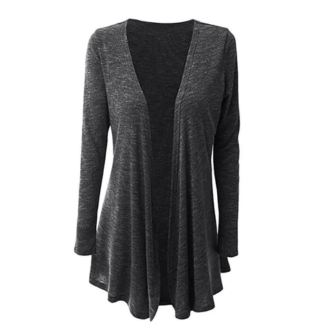 Ladies Full Sleeve Waterfall Knitted Cardigan - Toplen