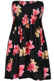 Ladies Sheering Floral Rose Printed Strapless Dress Top - Toplen