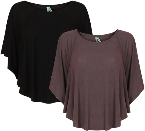 Ladies Batwing Top blouse open shoulder baggy t shirt - Toplen