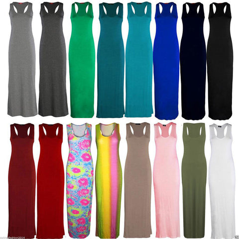 Ladies Jersey Long Summer Vest Racer Muscle Back Maxi Dress Plus Size 8-26 - Toplen