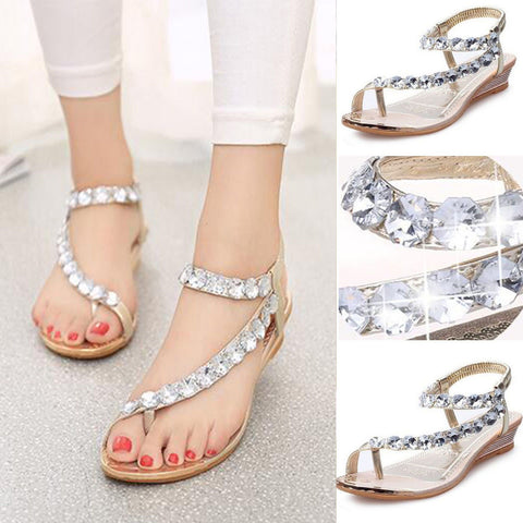 Women Summer Sandals Rhinestone Flat - Toplen