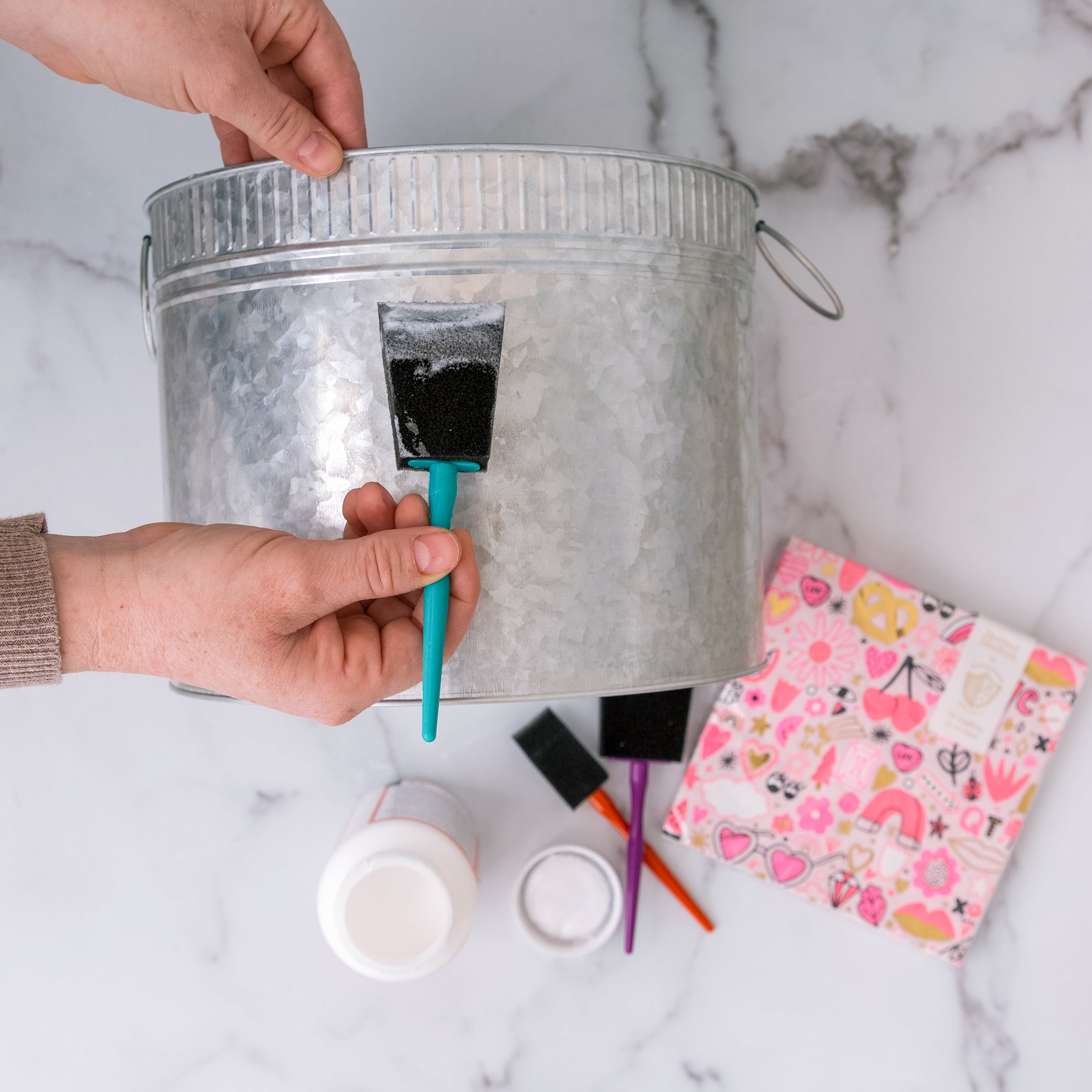 Paint bucket with mod podge