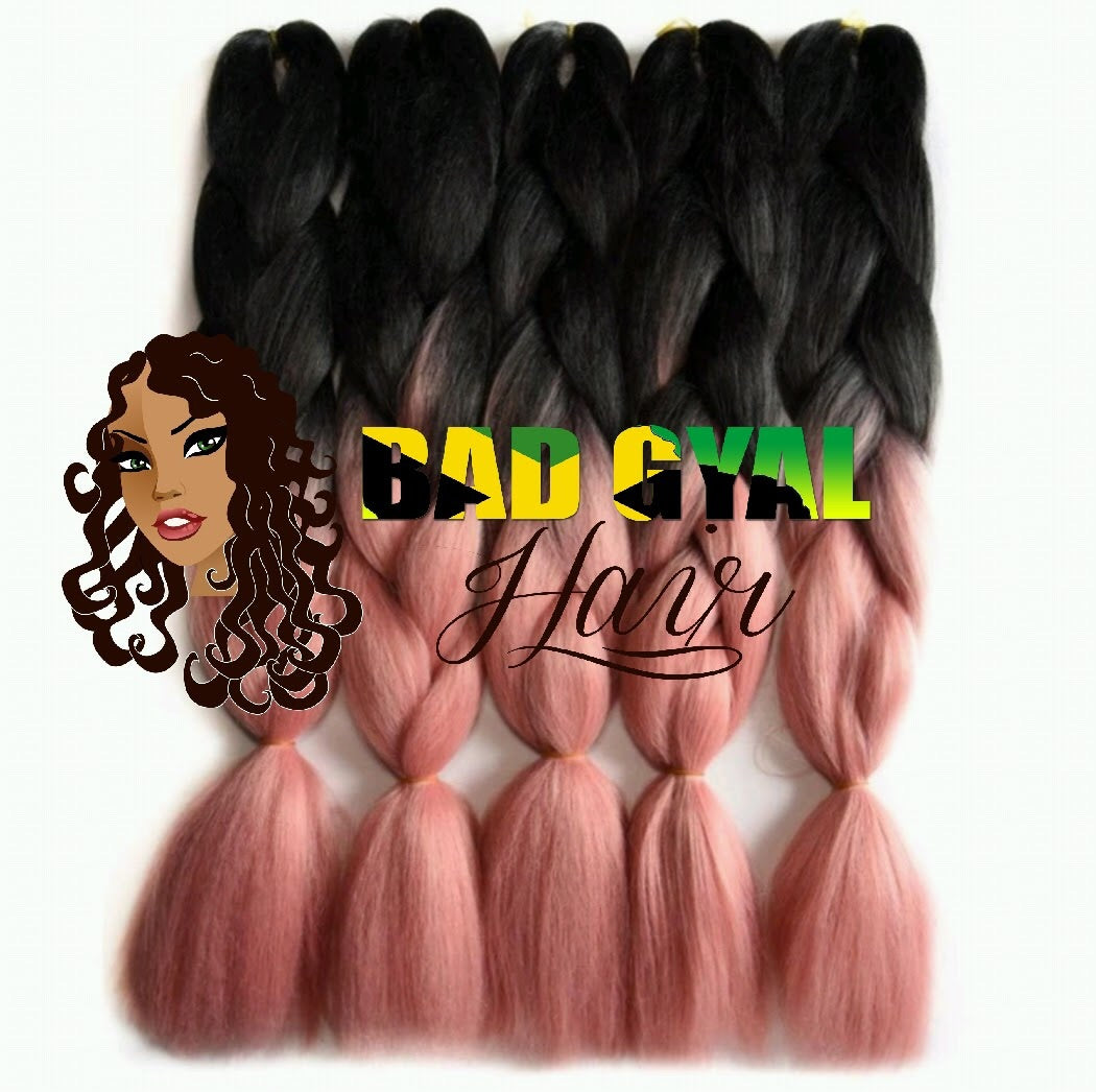 Black / Light Pink Braiding Hair