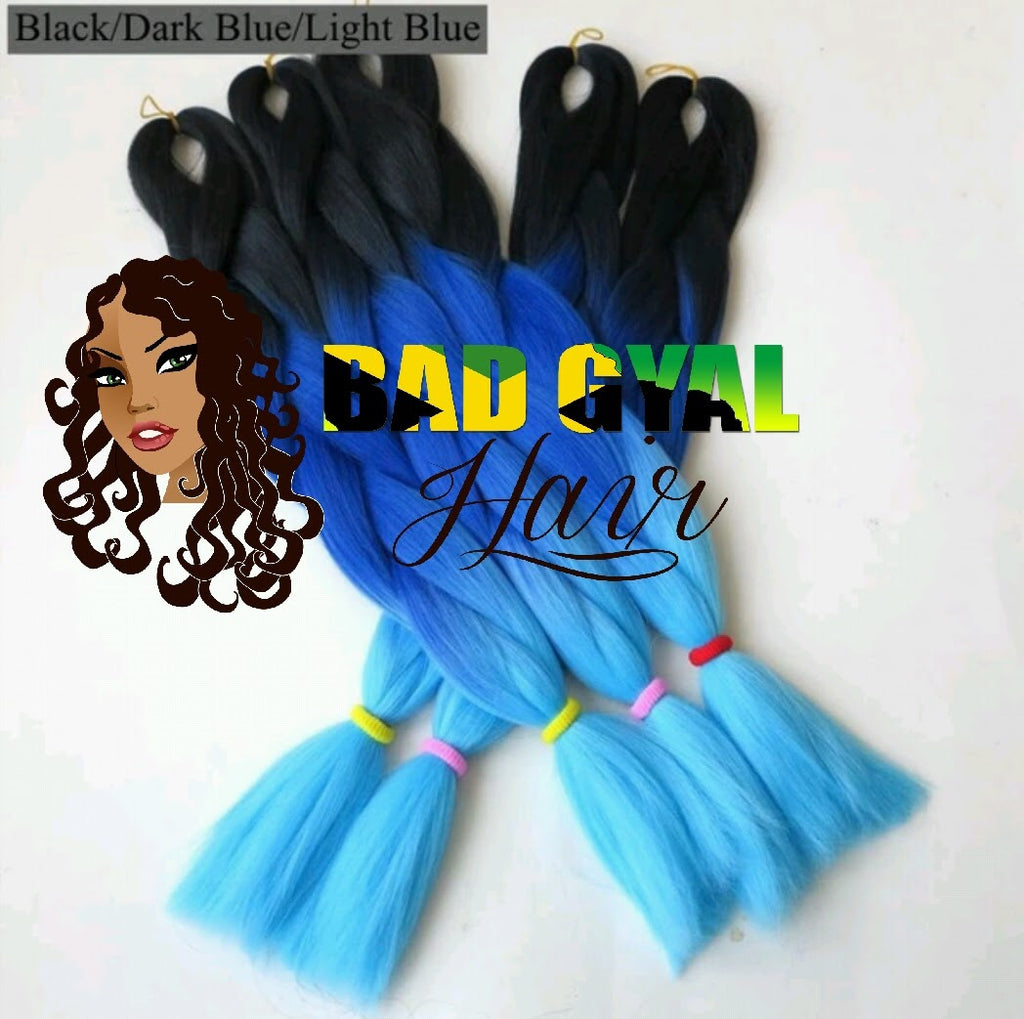 Black, Dark Blue, & Light Blue Braiding Hair