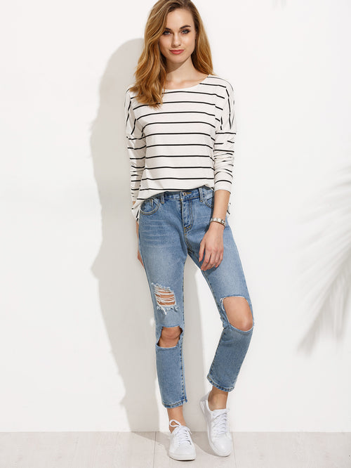 White Striped Drop Shoulder T-shirt
