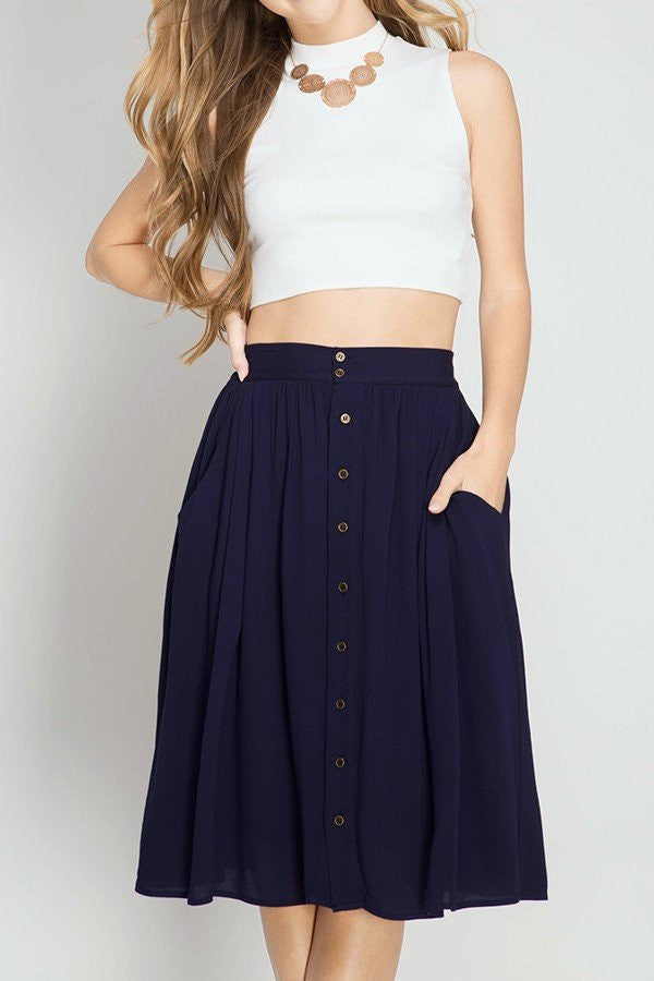 Susannah Button Skirt /w Pockets