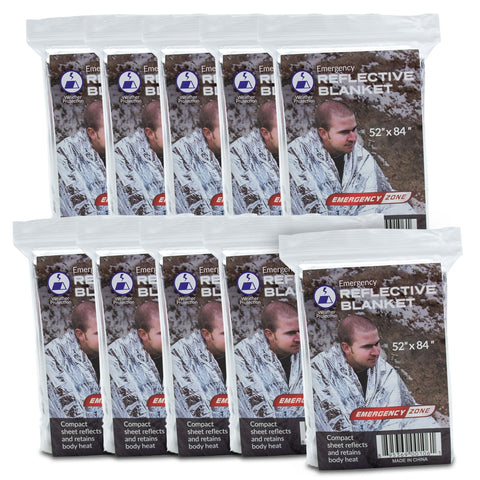 EMERGENCY REFLECTIVE BLANKET - 10 PACK