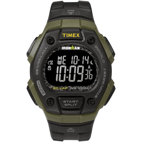 Timex IRONMAN Classic 30 41mm Full-Size Resin Strap Watch - Green/Black [TW5M24200JV]